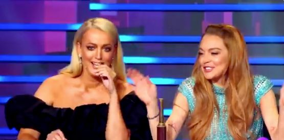 Jackie O (left) and Lindsay Lohan on the Australian version of The Masked