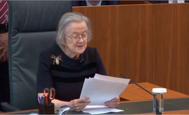 Lady Hale announcing the verdict on