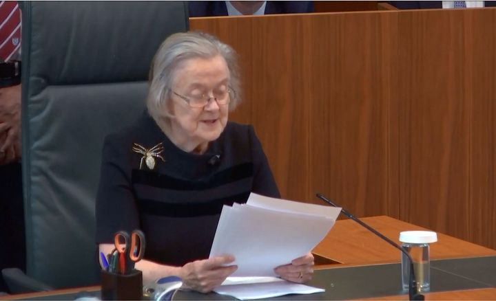<strong>Lady Hale announcing the verdict on Tuesday.</strong>