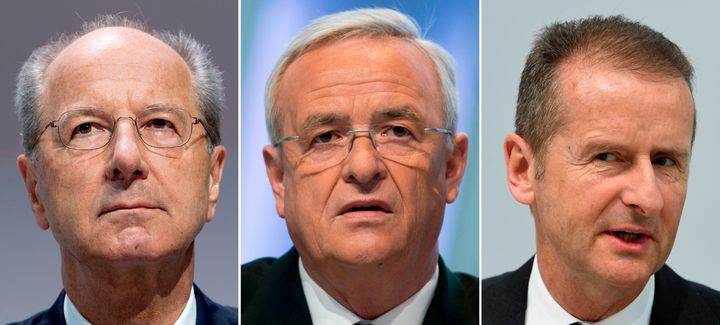 This combination of pictures shows (L-R) German car maker Volkswagen (VW) supervisory board chairman Hans Dieter Poetsch (on