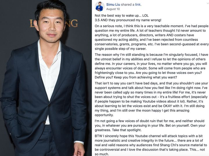 Kim's Convenience actor Simu Liu recently posted in the group.