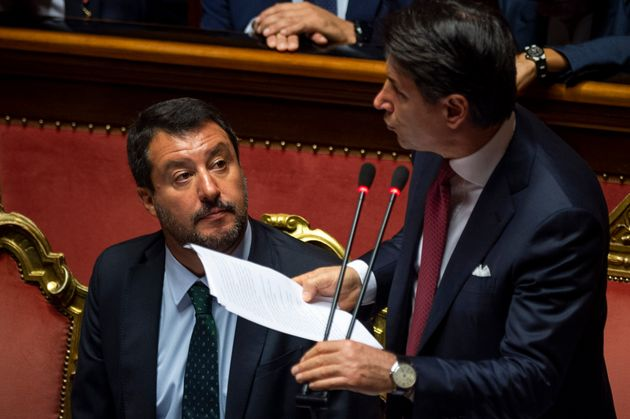 ROME, ITALY - AUGUST 20: Italian Prime Minister Giuseppe Conte flanked by Interior Minister Matteo Salvini...