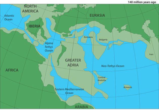 Il y a environ 140 millions d'années, la région métropolitaine d'Adria - qui a ensuite été envahie par...
