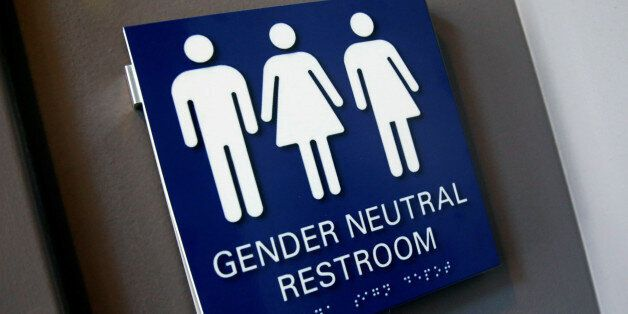 A Gender Neutral Restroom sign is seen placed outside a restroom for the 15th Annual Philadelphia Trans-Health...