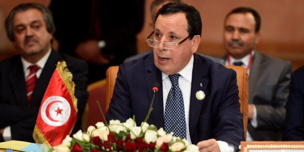 Tunisian Foreign Minister, Khemaies Jhinaoui, addresses the audience during the 34th session of the Arab...