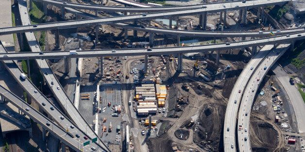 Aerial view over Canada's largest road work