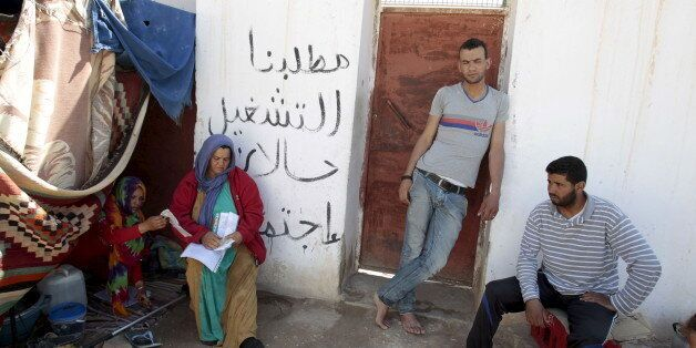 Protesters are seen near tents in Metlaoui, Tunisia May 11, 2015. Few shops are open in the Tunisian...
