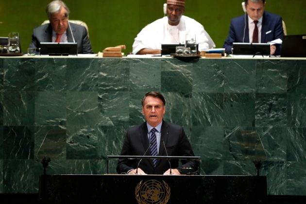 Brazil's President Jair Bolsonaro addresses the 74th session of the United Nations General Assembly at...