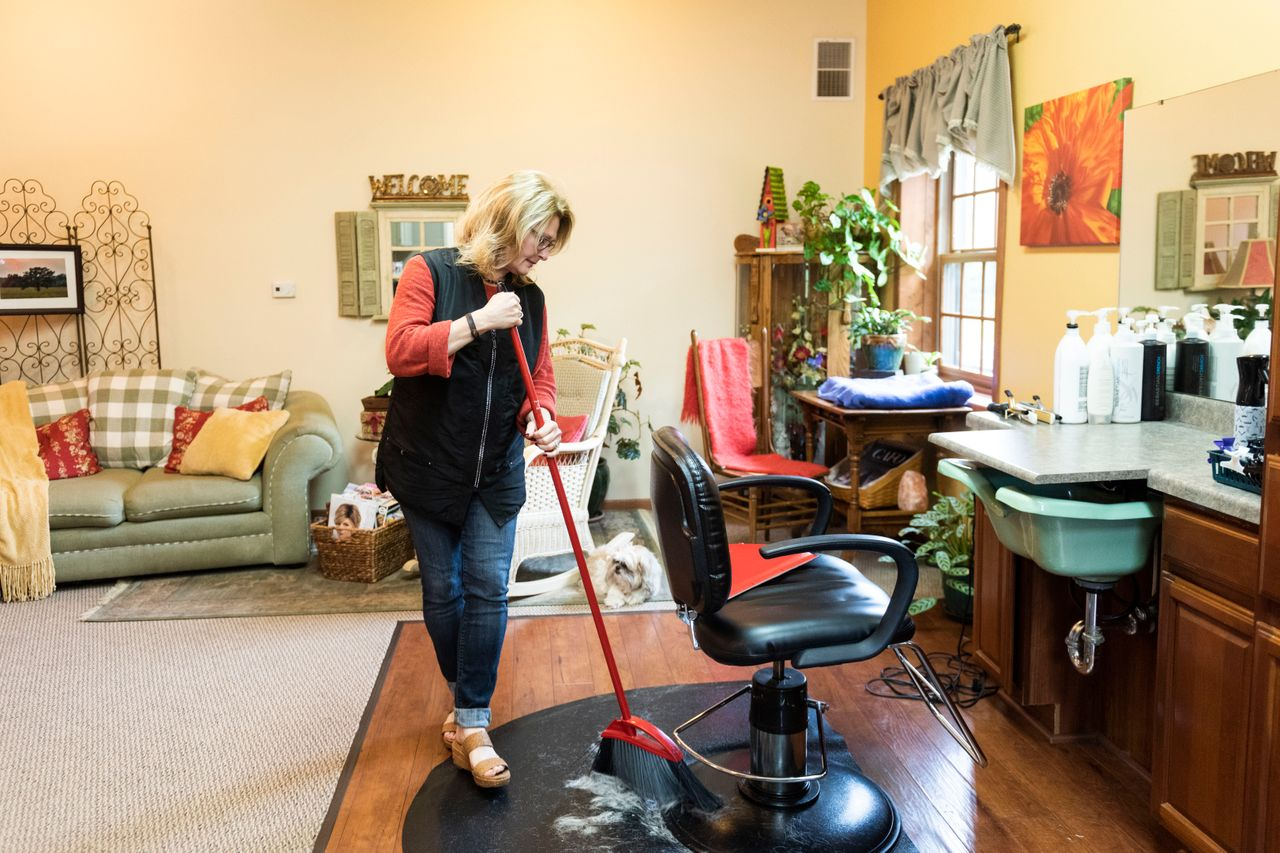 Carrell at her home hair salon in Saratoga, Wisconsin, on Sept. 20.