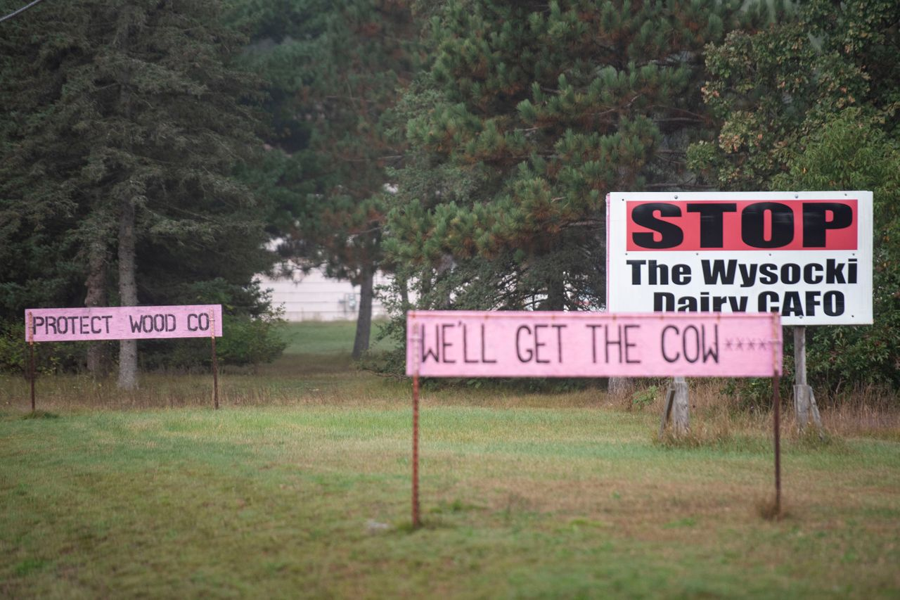 Signs protesting Wysocki and water contamination along Highway 73 in Saratoga, Wisconsin, on Sept. 20.