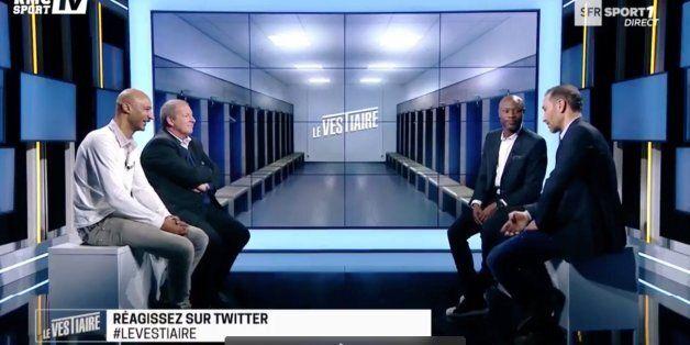Aziz ben Askar, entouré de William Gallas, Samy Traoré et Roland Courbis lors de l'émission tv