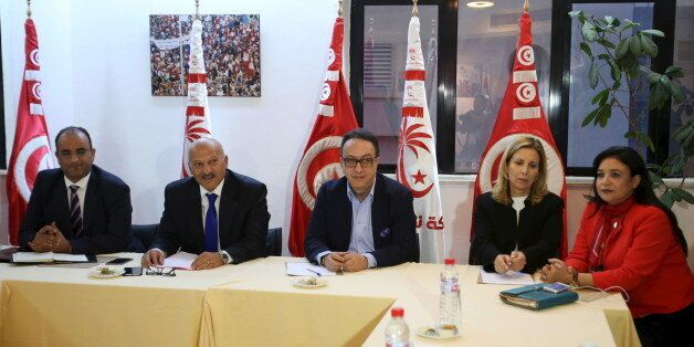 Hafhed Caid Essebsi (C), son of Tunisian president Beji Caid Essebsi, meets with Nidaa Tounes party leaders...
