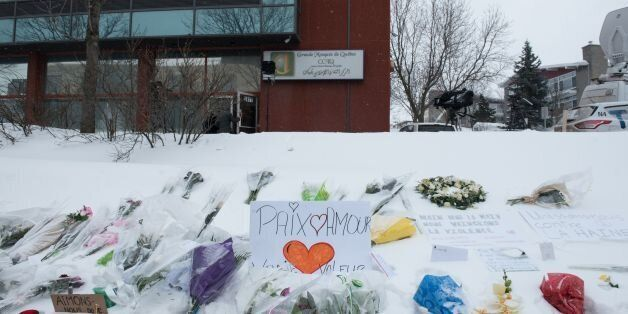 Messages are placed near a mosque that was the location of a shooting spree in Quebec City, Quebec on...