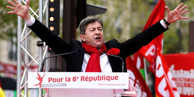 French far-left Parti de Gauche (PG) leader Jean-Luc Melenchon delivers a speech during a demonstration...