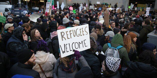 NEW YORK, UNITED STATES - JANUARY 28: Immigration activists stage a protest against President Donald...