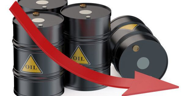 Oil price falling concept with oil