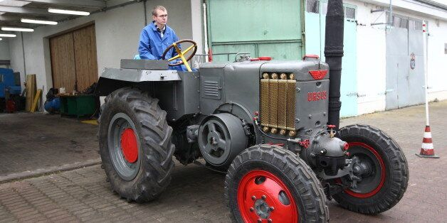 Rusocin, Poland 6th, November 2014 Student of the school of agricultural mechanization in Rusocin restored...