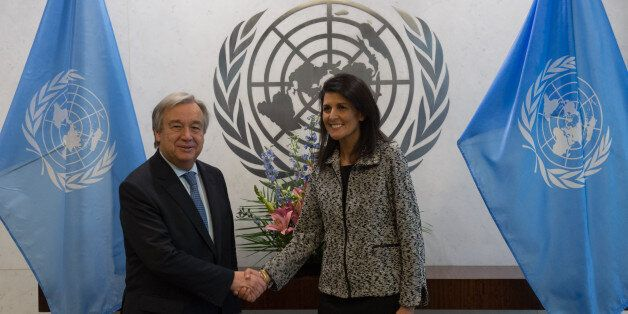United Nations Secretary-General António Guterres shakes hands with new US Ambassador to the United...