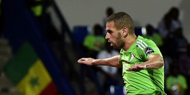 Algeria's forward Islam Slimani celebrates a goal during the 2017 Africa Cup of Nations group B football...