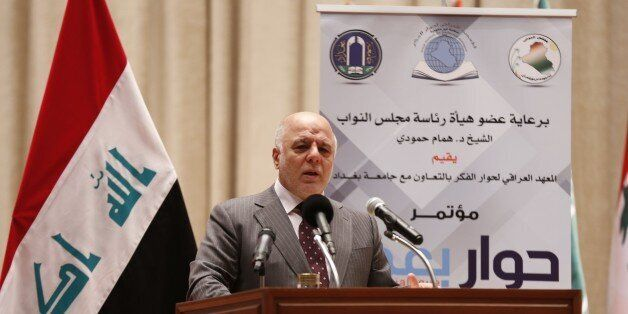 BAGHDAD, IRAQ - JANUARY 14: Iraqi Prime Minister Haider al-Abadi delivers a speech during Baghdad Dialogue...