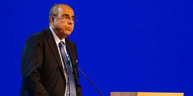 SAO PAULO, BRAZIL - JUNE 11: Chairman of the FIFA Mohamed Raouraoua of Algeria speaks to the audience...
