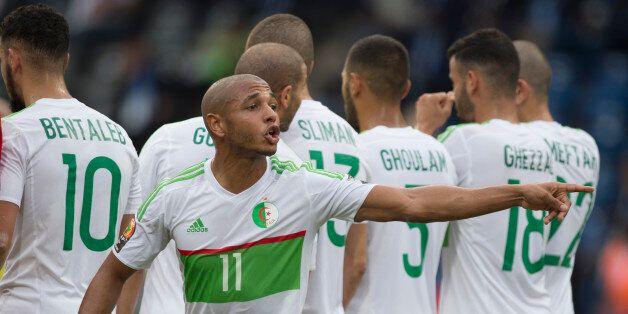 FRANCEVILLE, GABON - JANUARY 19: YACINE NASR EDDINE BRAHIMI of Algeria during the Group B match between...