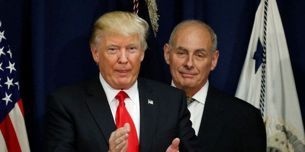 U.S. President Donald Trump applauds after a ceremonial swearing-in for U.S. Homeland Security Secretary...
