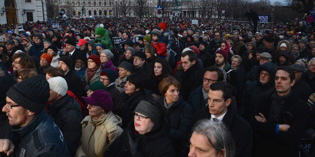 VIENNA, AUSTRIA - JANUARY 11: Thousands people stage a protest against gun attack on French satirical...