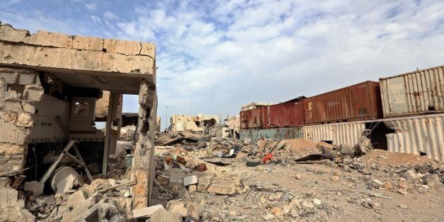 A general view shows destruction in Sirte's Al-Giza Al-Bahriya district on December 20, 2016 after they...