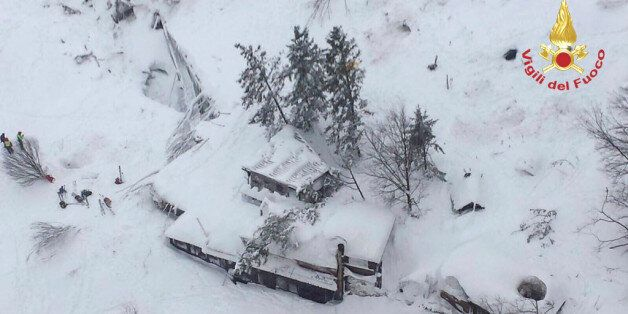 An aerial view shows Hotel Rigopiano in Farindola, central Italy, hit by an avalanche, in this January...