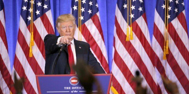 NEW YORK, Jan. 11, 2017 -- U.S. President-elect Donald Trump gestures during a news conference in New...