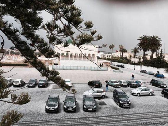 A Rabat, des tombées de grêle impressionnantes