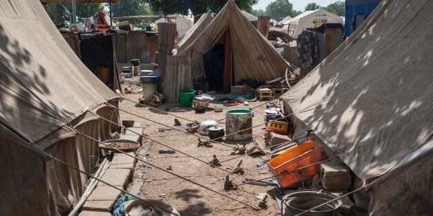 A picture taken on December 8, 2016 shows tents at the Internally Displaced People (IDP) camp, in Bama.The...