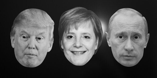 GERMANY, BONN - DECEMBER 13: World Policy - Symbol photo with the masks of Donald Trump, German Chancellor...