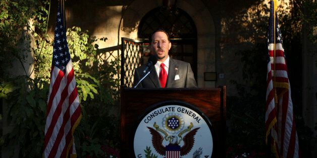 U.S. Consul General of Jerusalem Daniel Rubinstein gives a speech during a reception for the upcoming...