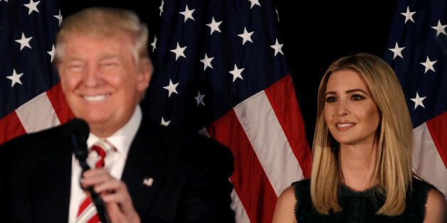 Ivanka Trump, looks on as her father Republican presidential nominee Donald Trump speaks at a campaign...