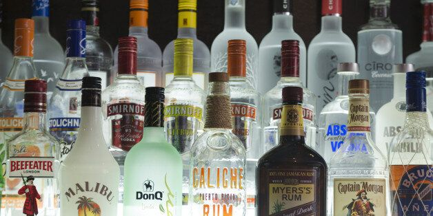 US, New York, Various bottles of US and international spirits in bar on 8th