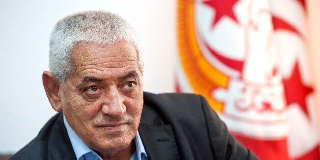 Houcine ABBASSI in his office, General Secretary of the UGTT, the labor union( of the Tunisian workers,...