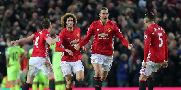 MANCHESTER, ENGLAND - JANUARY 15: Zlatan Ibrahimovic of Manchester United celebrates scoring his team's...