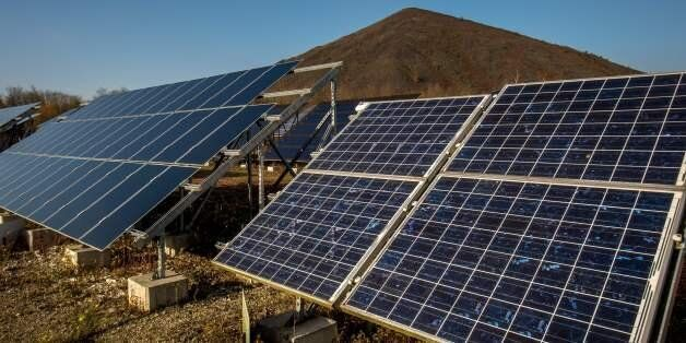 A picture shows solar panels installed at the Lumiwatt site, a site of research and testing on photovoltaic...