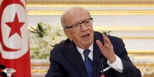 Tunisian President Beji Caid Essebsi speaks during the first cabinet meeting of the new government on...