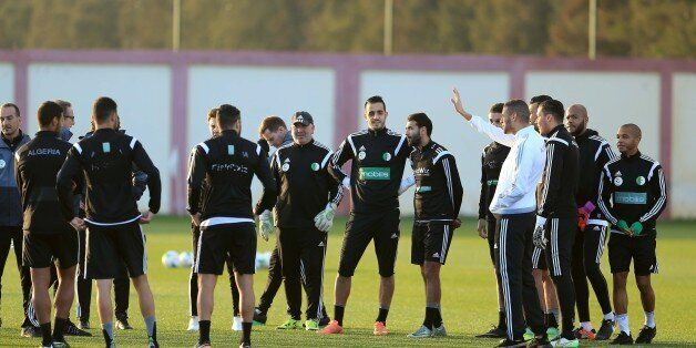 Algeria's players during a training session on January 4, 2017, at the National Technical Center in Sidi...