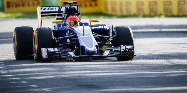 MELBOURNE , AUSTRALIA - MARCH 13 : Brazilian Felipe Nasr #12 from the Sauber F1 Team during the Friday...