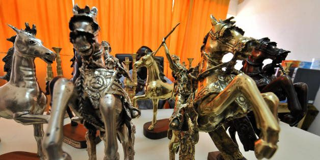 Burkina Faso's awards named ''Golden Stallion of Yennenga'' showed by sculptor Ali Mikiema are seen on...