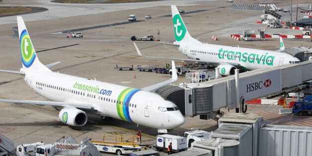Transavia compagny aicrafts are pictured at the Paris-Orly airport in Orlyat the Paris-Orly airport in...