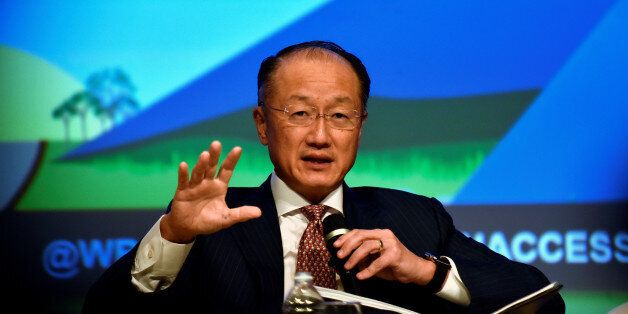 World Bank President Jim Yong Kim sits on a panel at the annual meetings of the IMF and World Bank Group...