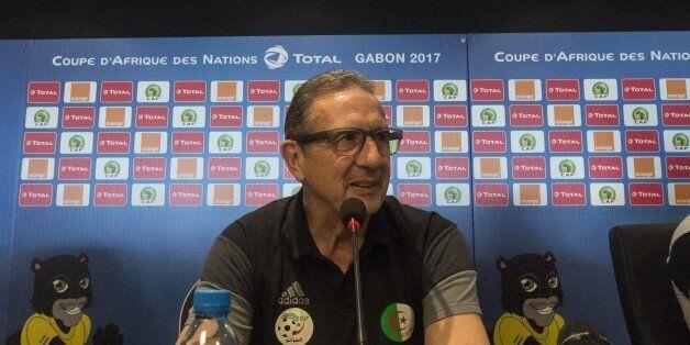 Algerias Belgian Coach Georges Leekens gives a press conference at Franceville Stadium in Franceville...
