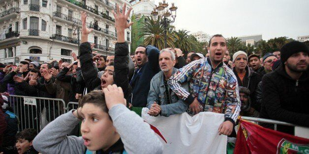 ALGIERS, ALGERIA - JANUARY 19: Soccer fans of Algeria watch their national team's match against Tunisia...