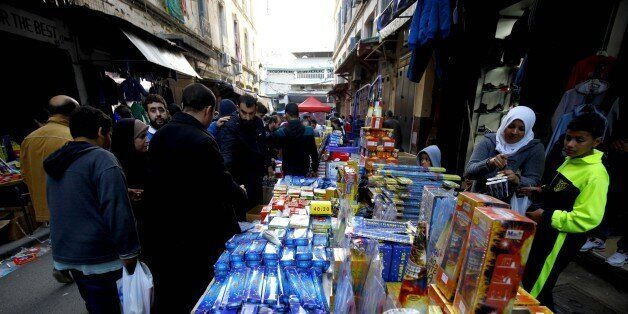 Selling firecrackers on a Bab El Oued market in Algiers, Algeria on 10 December 2016 as the celebration...