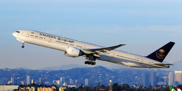 Los Angeles, CA, USA - Jan 02, 2016:Saudi Boeing 777-300ER (Registration No. HZ-AK19) taking off at LAX